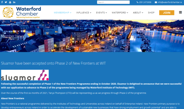 Main Photo for news entitled Sluamor featured in the Waterford Chamber of Commerce Newsletter